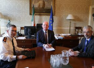 Minister for Justice and Equality, Charlie Flanagan, has a formal meeting with new Garda Commissioner, Drew Harris, on his first day in office